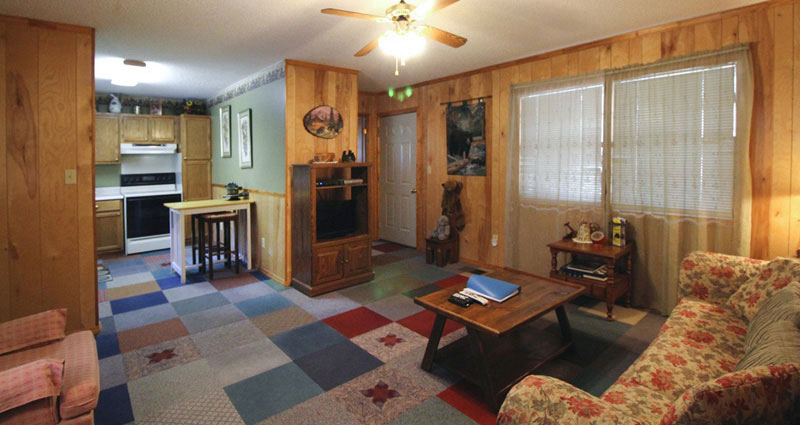 large living room in a rental cabin